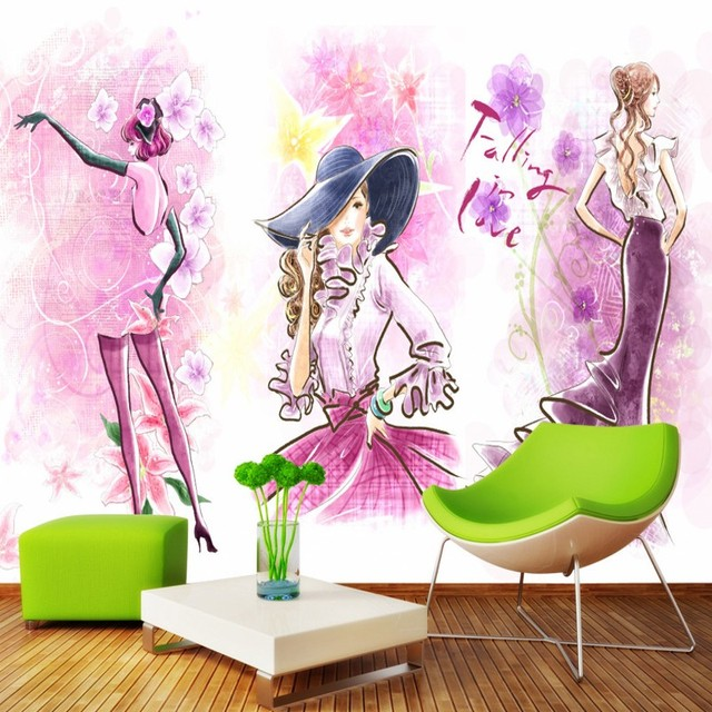 photo wallpaper Fashion trend women clothing store shop background ...