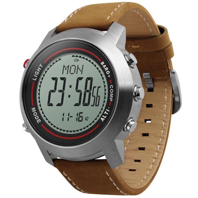 Мужская Мода Спортивные часы кожаный ремешок Нержавеющаясталь циферблат альпинист альтиметр барометр термометр часы Relogio Masculino