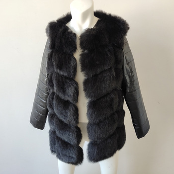 High Quality Women Faux Fur Coat Jacket Slim Leather Fashion Jackets 2019 Winter Black Long Sleeve Thick Warm Amazing Outerwear