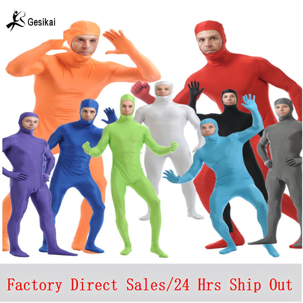 Adultos Lycra Open Eyes Full Body Custome para Halloween Hombres Segunda piel trajes ajustados Spandex Body Cosplay disfraces