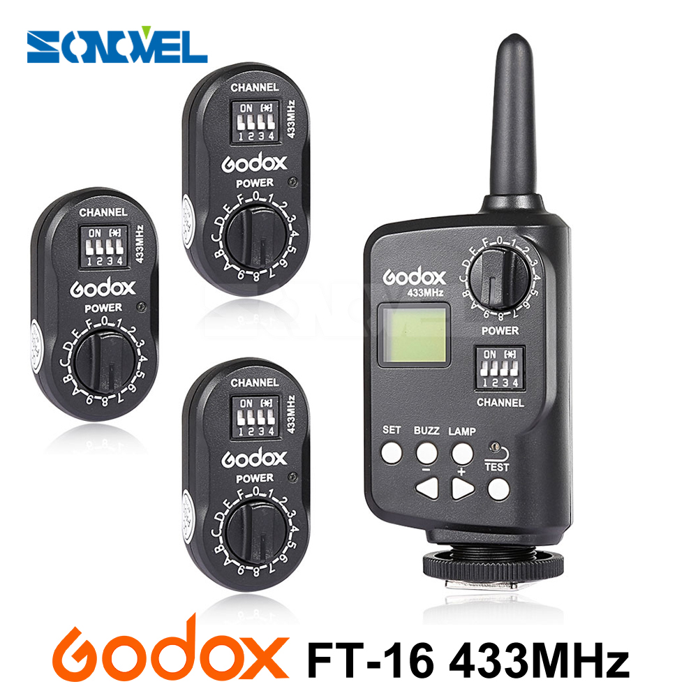 Godox FT-16 Wireless Transmitter Power Controller Trigger 3x Receiver for AD360 AD360II AD180 QT QS GT Camera Flash Speedlite 2x godox v860n new li ion speedlite flash 1x ft 16s wireless trigger transmitter 2x receiver for nikon camera