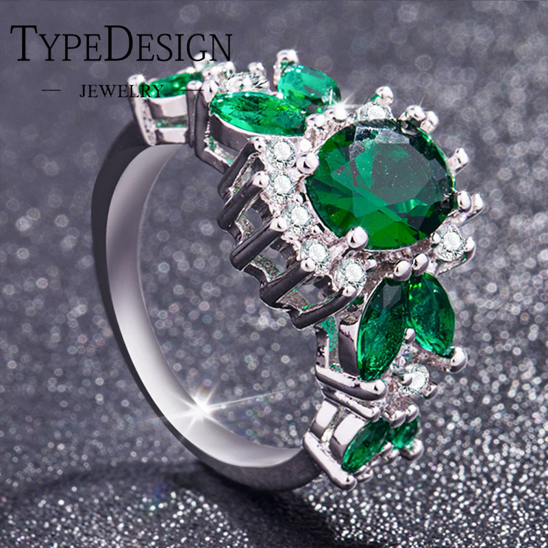Creative Emerald Zircon Ring For Women Lady Chrome Green Tourmaline Moissanite Engagement Rings Shape Christmas Knuckle Rings