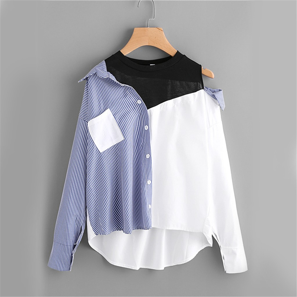 fashion woman shirt womens tops and blouses Women's Patchwork Shirt Ladies Sexy Top Lace Casual Shirt Hem Shirt Blouses & Shirts  - AliExpress
