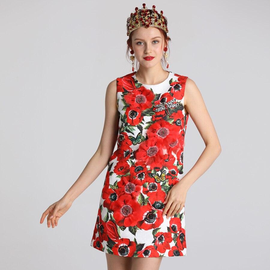 Rot RoosaRosee Neue 2019 Sommer Kleid Frauen blume Drucken Natur Taille O ansatz Über Knie Kleidung Ärmel die Frauen Kleider-in Kleider aus Damenbekleidung bei  Gruppe 3