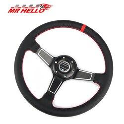 Wysokiej jakości 14 ''350mm czarny prawdziwy skóra ND Tuning rajdowy Drift Racing KIEROWNICA SPCO