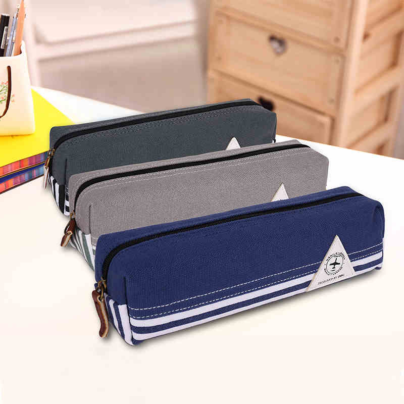 Fashionable Simple Travel Pen Case Canvas Fabric Pencil Bag with Zipper Multi-function Student School Supplies Stationery big capacity high quality canvas shark double layers pen pencil holder makeup case bag for school student with combination coded lock