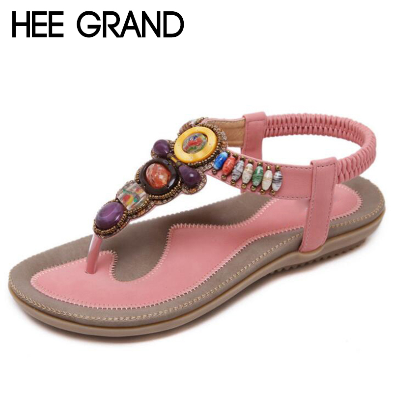 HEE GRAND 2018 New Women Crystal Decoration Sandals Flats with Comfortable Women Gladiators Beach&Sea Vacation Shoes XWZ1733HEE GRAND 2018 New Women Crystal Decoration Sandals Flats with Comfortable Women Gladiators Beach&Sea Vacation Shoes XWZ1733
