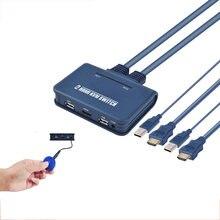 2 порта kvm переключатель с кабелем для монитора usb клавиатура