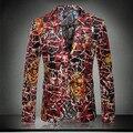 2015 recién llegado de otoño invierno blazer pleuche impresión alta calidad moda delgado traje ropa de abrigo para hombre macho tamaño ml XL XXL XXXL