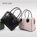 MAILAER 2017 New Woman Genuine Leather Embossed Stone Pattern Portable Handbag Shoulder Bag Messenger Bag Mini Cute Totes Bag
