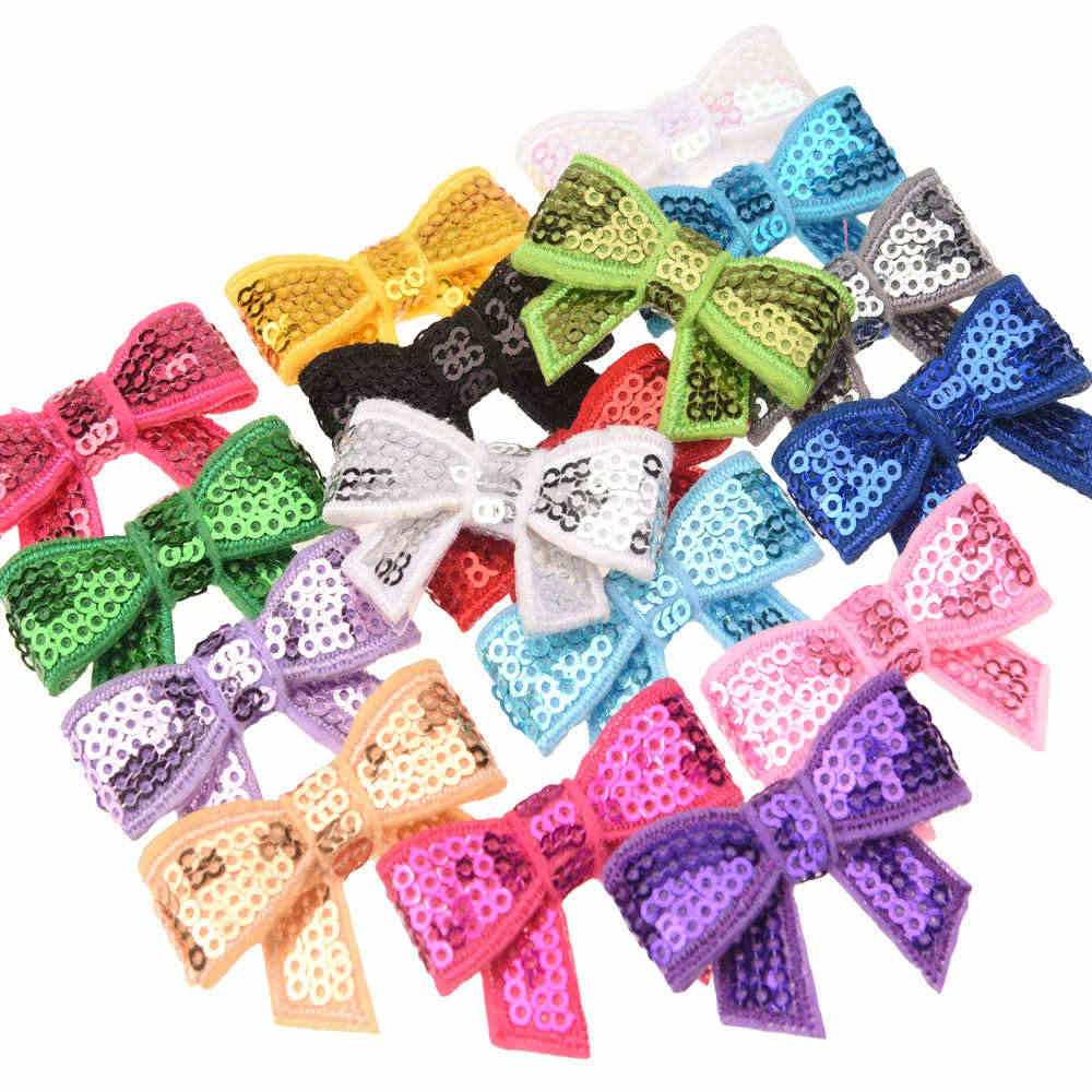 18PCS Newborn  Hair bow Sequin Bows  Bowknot Little  Hair Accessories Glitter Hair Bows No Hairclip Headwrap Fashion Accessory