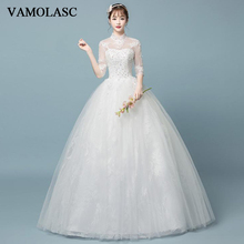 VAMOLASC Sequined High Neck Lace Appliques Ball Gown Wedding Dresses Illusion Half Sleeve Backless Bridal Gowns