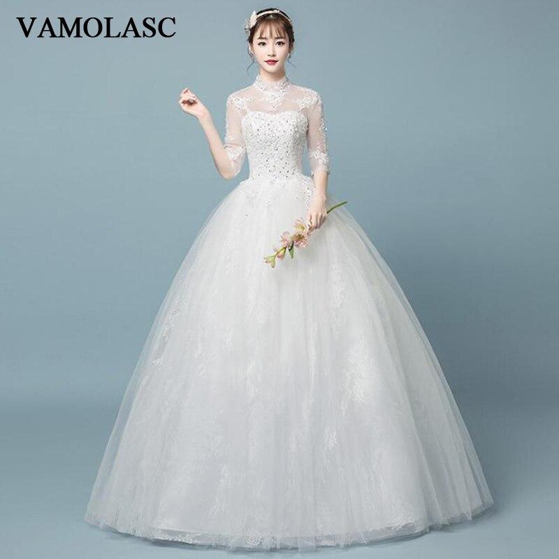 VAMOLASC paillettes col haut dentelle Appliques robe de bal robes de mariée Illusion demi manches dos nu robes de mariée