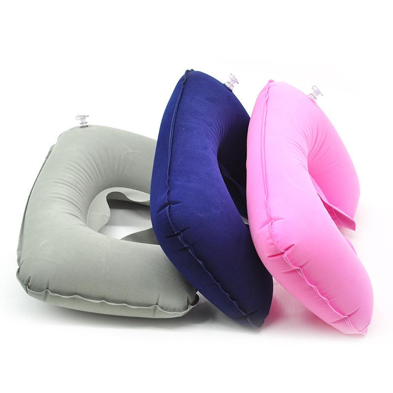 Flocking Inflatable U Shaped Pillow for Pregnancy Outdoor Travel Head Neck Rest Air Cushion Portable Maternity Car Seat Pillow