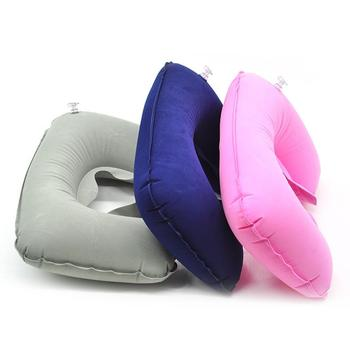 Flocking Inflatable U Shaped Pillow for Pregnancy Outdoor Travel Head Neck Rest Air Cushion Portable Maternity Car Seat Pillow image