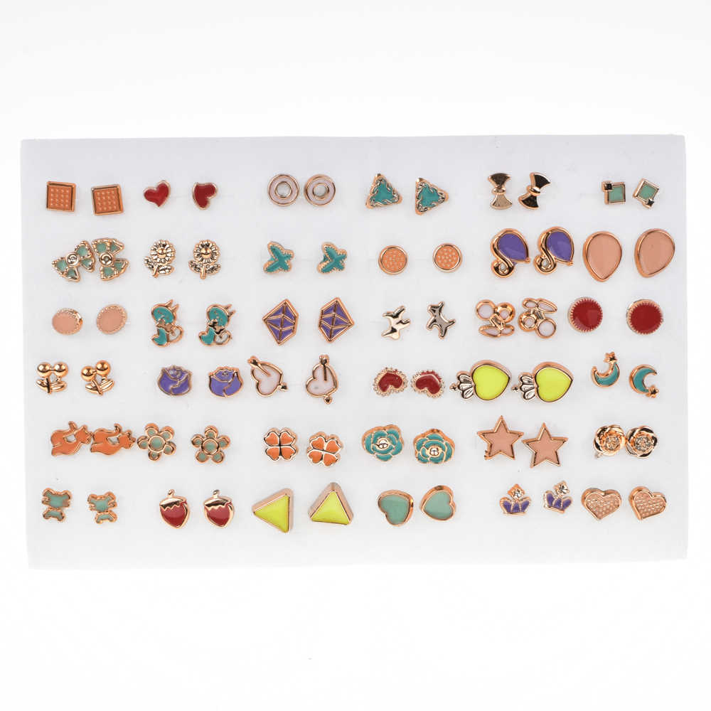 36 Pair/lot Women Clover Geometric Small Stud Earrings Sets Girl Child Enamel Mini Earring Party Jewelry Friend Birthday Gift