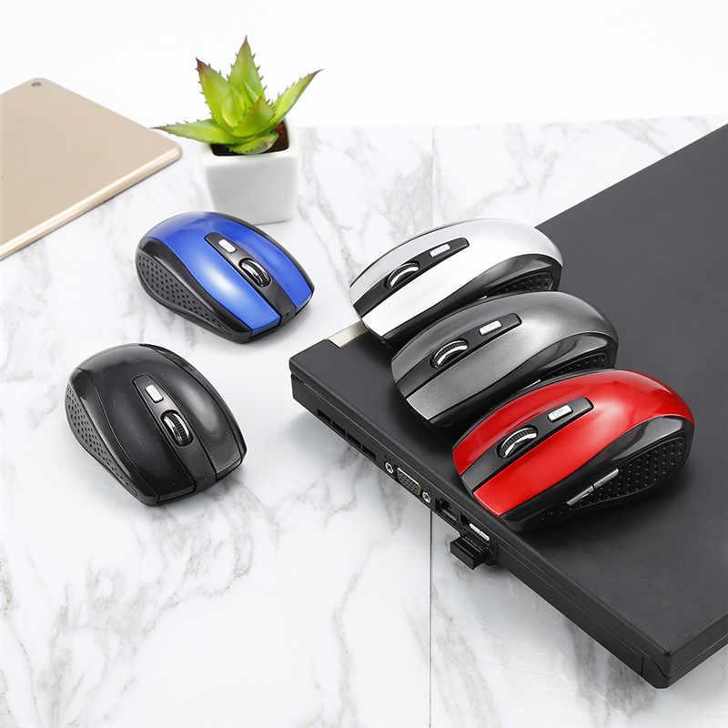 Gran oferta 1PC ratón inalámbrico de 2,4 GHz 6 llaves USB óptico pergamino ratón ratones para Tablet PC ordenador portátil juego ratones de Jugador