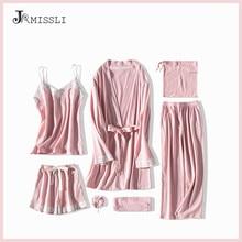 JRMISSLI ลูกไม้ชุดนอน 7 ชิ้นผ้าฝ้ายชุดนอนชุดนอนผ้าไหมสวมใส่ Solid Sleep Lounge เซ็กซี่สีชมพูชุดนอนชุดนอนชุดนอน
