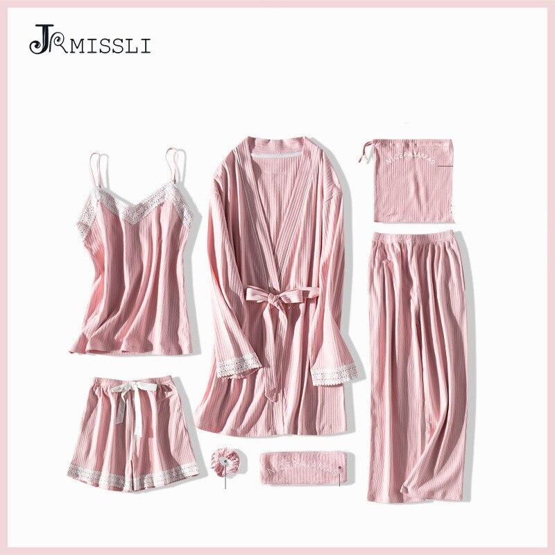 JRMISSLI Lace Women Pajamas 7 Pieces Cotton Pajama Sets Sleepwear Silk Home Wear Solid Sleep Lounge Sexy Pink Pyjamas Nightwear