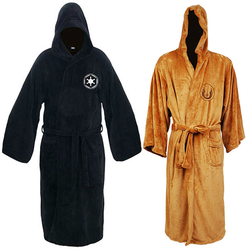 Men S Dressing Gowns: Flannel Robe With Hooded Male Star Wars Dressing Gown Jedi