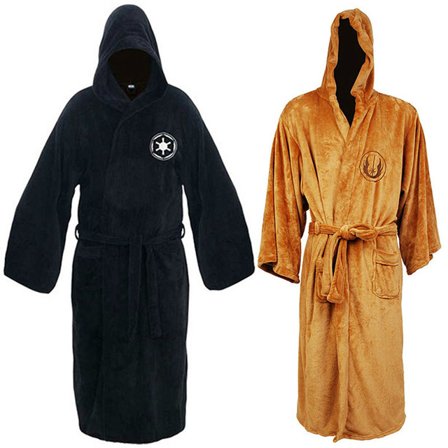 4e7fdaff74 Flannel Robe with Hooded Male Star Wars Dressing Gown Jedi Empire Men s  Bathrobe Winter Long Robe Mens Bath Robe