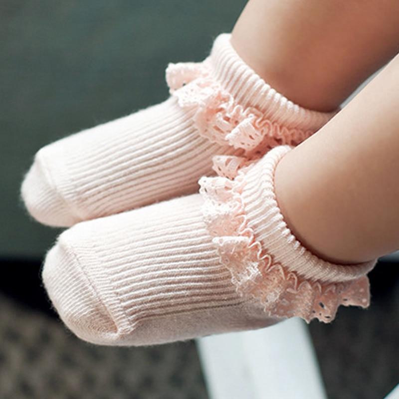 Baby Socken Süße Prinzessin Spitze Baby Mädchen Sock Infant Kleinkind Baumwolle Rüschen Ankle Socken Baby Meias Infantil Rosa/Weiß 0-2 Y