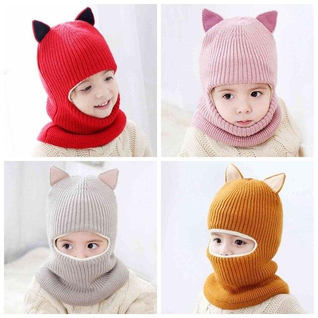52d1eab9fdb Kids Winter Warm Hats Children Knitted Beanies Caps Hood Scarf Girls Fleece  Balaclava Animal Ears Hat