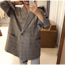 2019 Blue Large Lattice Double-breasted Loose Large Edition Casual Suit Notched Double Breasted Plaid Women Jackets and Coats huntingtower large print edition