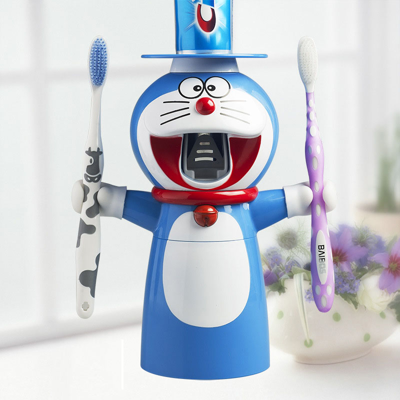 Creative Cartoon Doraemon Automatic Toothpaste Dispenser Squeezer Wall Mount Stand  Dust-proof Cup 35