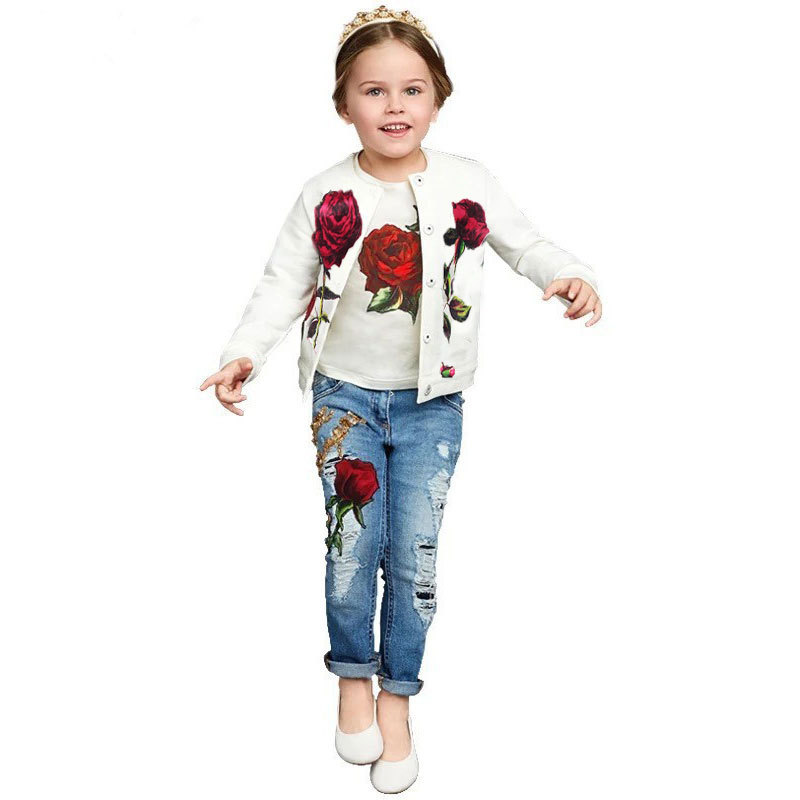 3PC spring autumn Baby Girls Clothing Set casual long-sleeved Jacket+T-shirt+Denim overalls jeans Pants Kids girls Clothes denimseason 2018 spring tracksuit girls sets girl overalls girls t shirt kids clothes children clothing kids overalls denim chic