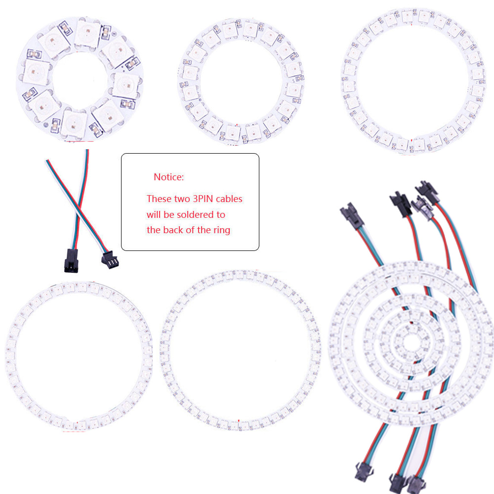 Built-in Integrated Drivers DC5V WS2812B 1 8 12 16 24 32 Bits 5050 RGB LED Ring