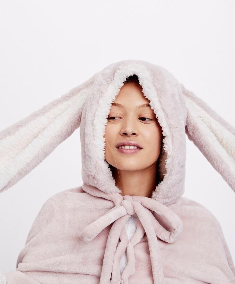 Cute Pink Comfy Blanket Sweatshirt Winter Warm Adults and Children Rabbit Ear Hooded Fleece Blanket Sleepwear Huge Bed Blankets 16