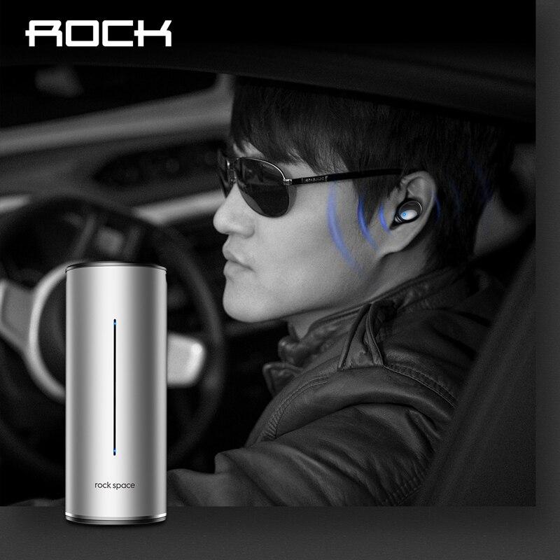 TWS Waterproof Bluetooth 4.2 Earphone, ROCK Series Sports Wireless in-Ear Stereo Earbuds Earphones with mic Charging Battery Box