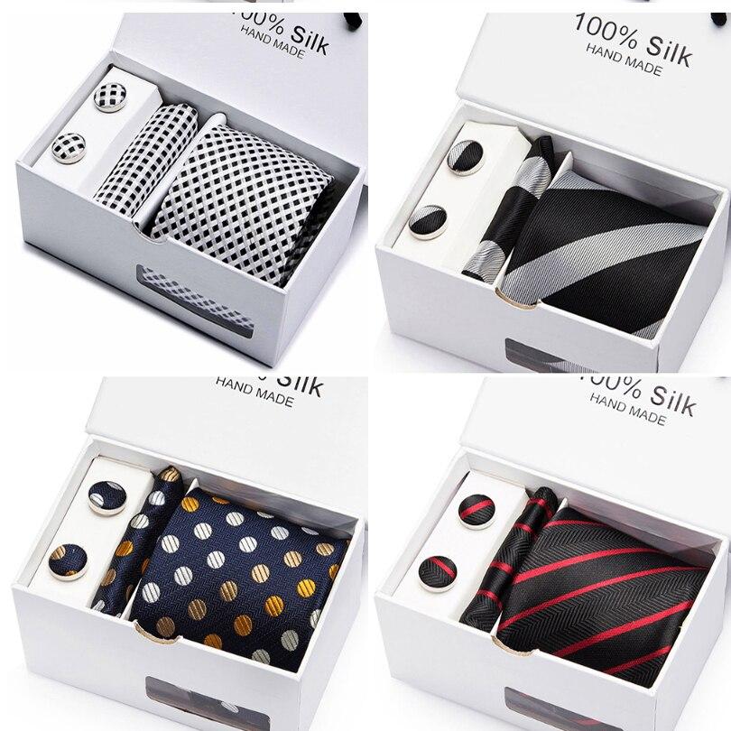 Herren Krawatte Schwarz Solide 100% Silk Klassische Tie + Hanky + Manschettenknöpfe Set Für Männer Formale Hochzeit 2 teile/los großhandel gruppe krawatte