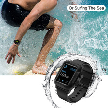 Laforuta Waterproof Case for Apple Watch 4 with Silicone Band 44mm 40mm iWatch Strap Shockproof Bumper Cover Sport Bands