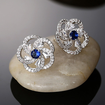 Three Color 2015 Fashion Classic Luxury Platinum Gold Rose Flower Stud Earring For Women Girl Wedding Gift