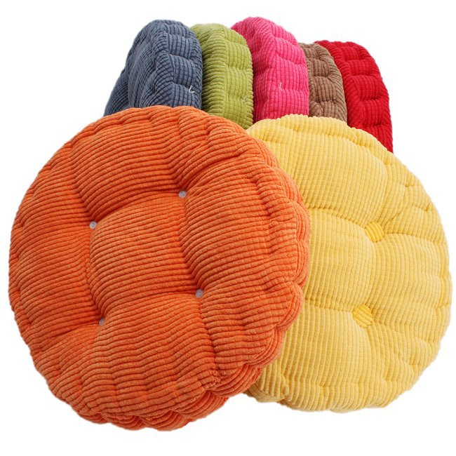 Free Shipping 40 40cm Chair Pad Cushion Pearl Cotton: 36*38cm Round Shape Plaid Chair Pad Cushion Thicker Soft