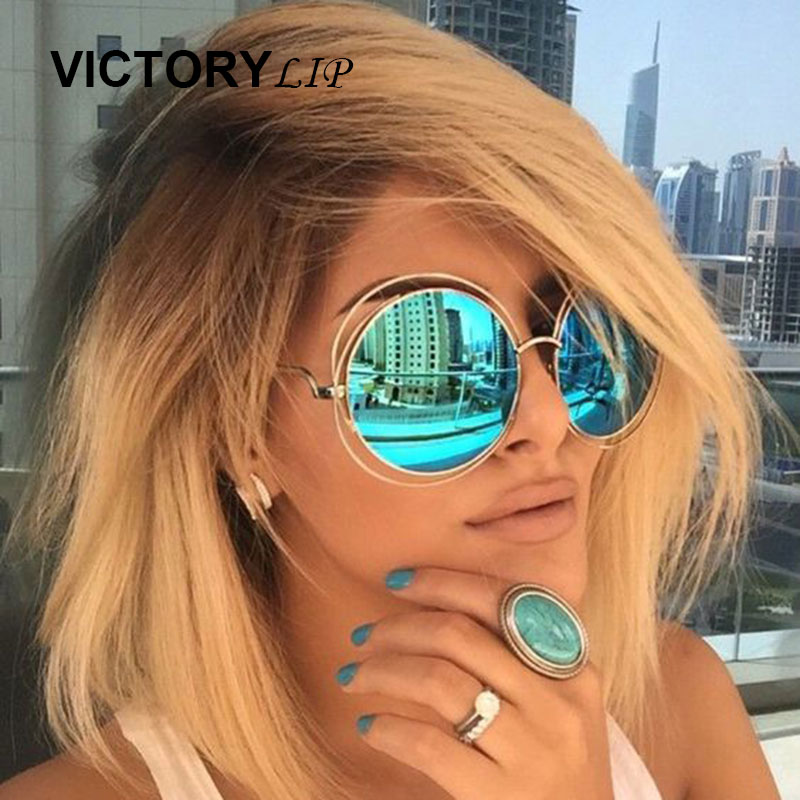 VictoryLip Vintage Round Big Oversized lens Mirror Brand Designer Pink Sunglasses Lady Cool UV400 Women Sun Glasses Female