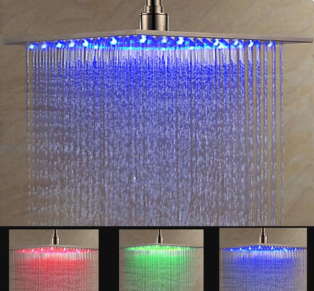 Luxury Ceiling/wall Mount 16″ LED  Light Shower Head Bathroom Big Rainfall Showerhead Brushed Nickel Finish