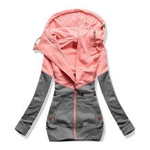 20e203a81 Oversize Double Hooded Sweatshirt Women Long Sleeve Autumn Spring Coat  Patchwork Pocket Zipper Hoodie Plus size