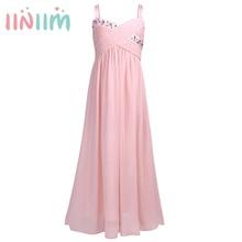 Moda Kızlar için Rhinestones Pilili Şifon Çiçek Kız Elbise Prenses Pageant Düğün Nedime doğum günü partisi elbiseleri Boyutu 4 14