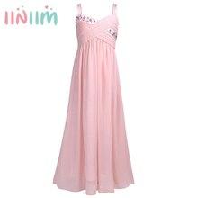 אופנה בנות Rhinestones קפלים שיפון שמלת ילדה פרח נסיכת שושבין חתונת תחרות מסיבת יום הולדת שמלות גודל 4 14