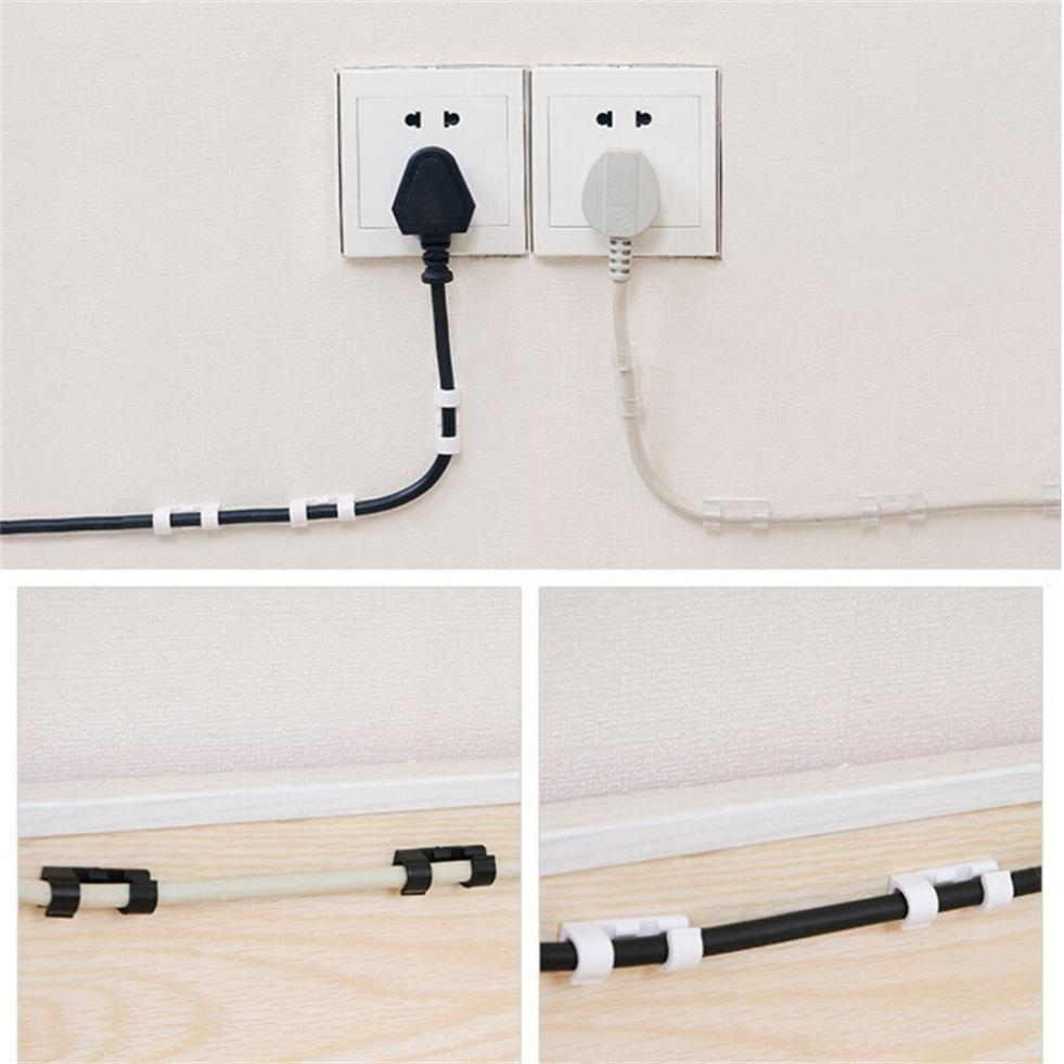 20pcs Self-Adhesive Cable Clips Organizer Drop Wire Holder Cord Management for power cords charging cables USB cords original taiwan fotek h3 trd 30s star delta timer fotek timer page 3