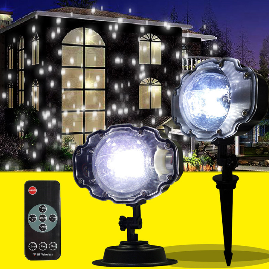 Outdoor Garden IP65 Moving Snowfall Laser Projector Lamp Christmas Snowflake Laser Light Landscape Spotligh For New Year Party beiaid ip65 outdoor laser landscape light projection moving star christmas laser projector garden party disco dj led stage light