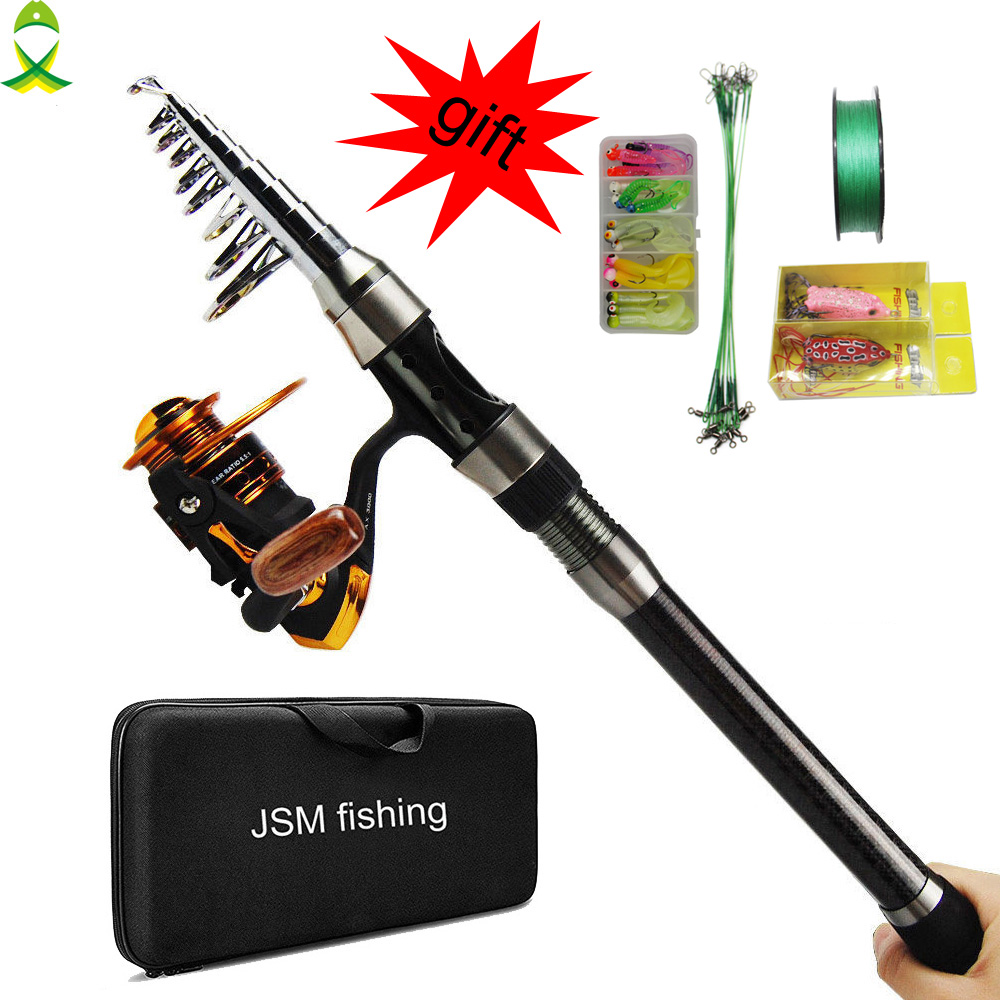 JSM 2 1m 3 6m carbon fiber Telescopic sea Fishing Rod Reel Full Kit Spinning Reel