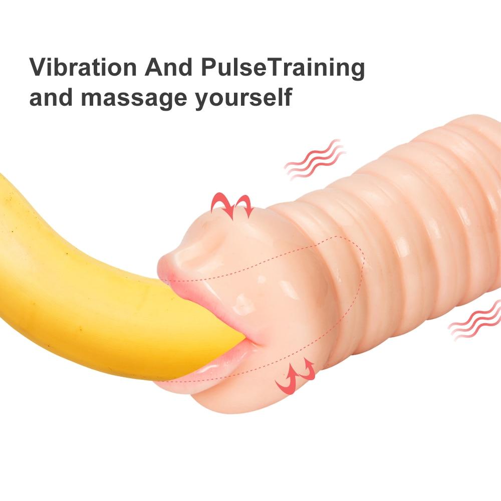 Realistic Vagina Anal Male Masturbator Silicone Soft Tight Pussy Erotic Adult Toys Sex Toys For Men Mouth Masturbation Machine in Masturbators from Beauty Health