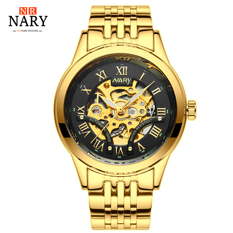 цены 2018 latest automatic mechanical watch waterproof men, skeleton men's stainless steel watch, well-known brand nary gold watch