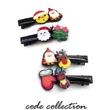 2pcs/set Cute Sweet Elk Tree Santa Claus Christmas Cartoon Children Hairpins For Girl Kids Day Gift Accessories