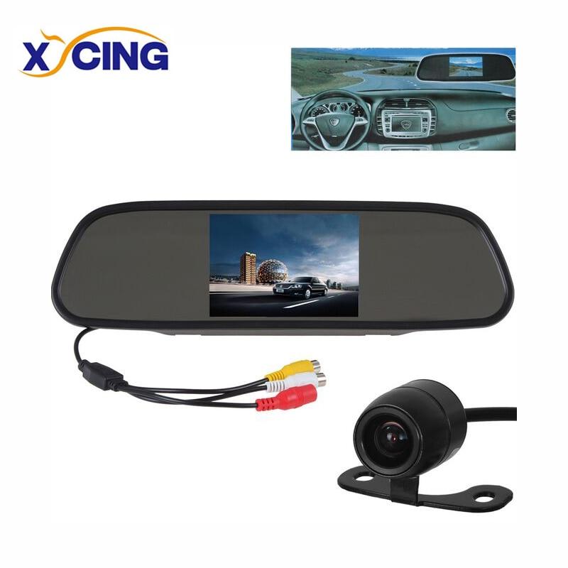 XYCING 4.3 collu TFT LCD krāsu monitora automašīnas aizmugures spogulis stāvvietu monitora + ūdensnecaurlaidīga auto automašīnas atpakaļskata kamera RVC-219
