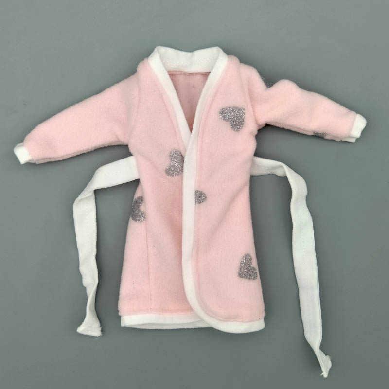 ורוד אפור לב חלוק עבור ברבי בובת רחצה חליפות חורף פיג 'מה ללבוש שינה מזדמן בגדים עבור ברבי לשחק צעצועי בית